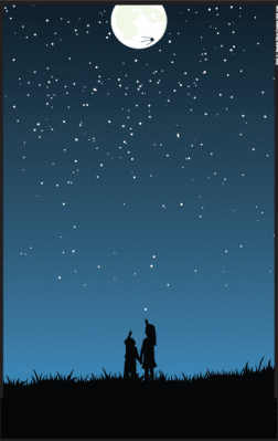 This is an image of people pointing to a starry sky.