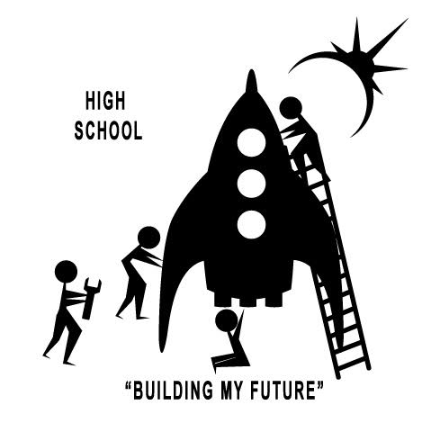 logo EIS Ship, Logo and kids in black and white for high school