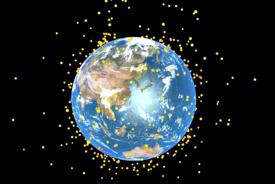 The image is from the embedded video showing space debris orbiting Earth.