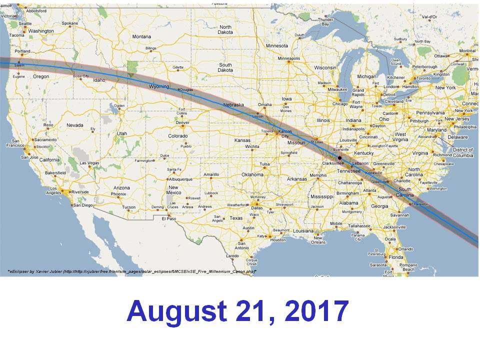 The path of the 2017 total eclipse across the USA