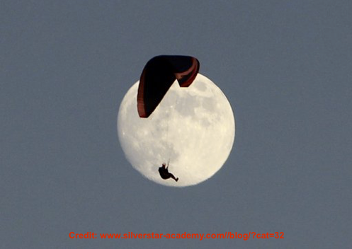 Image: full moon with paraglider in front