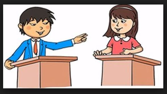 Cartoon of a boy and girl debating while standing behind podiums