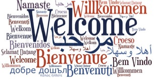 Image: The word Welcome repeated in many languages